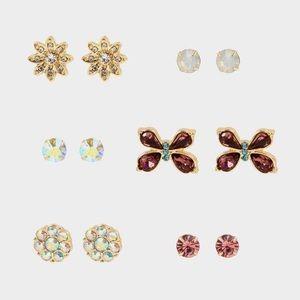 Betsey Johnson 6 Earring Set Flowers & Butterflies